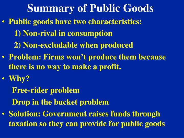 Summary of Public Goods