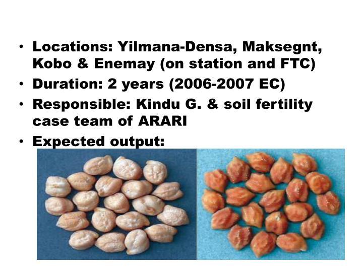 Locations: Yilmana-Densa, Maksegnt, Kobo & Enemay (on station and FTC)