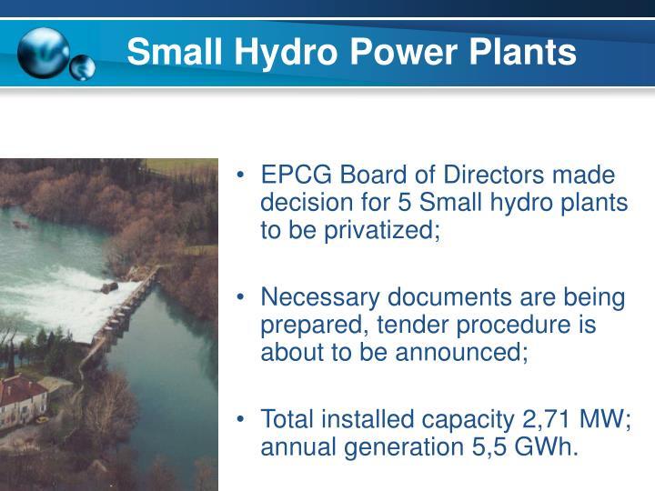 Small Hydro Power Plants