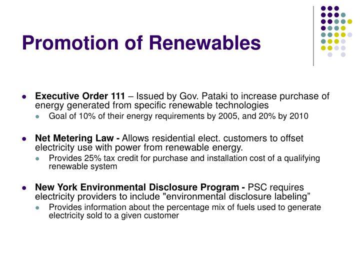 Promotion of Renewables
