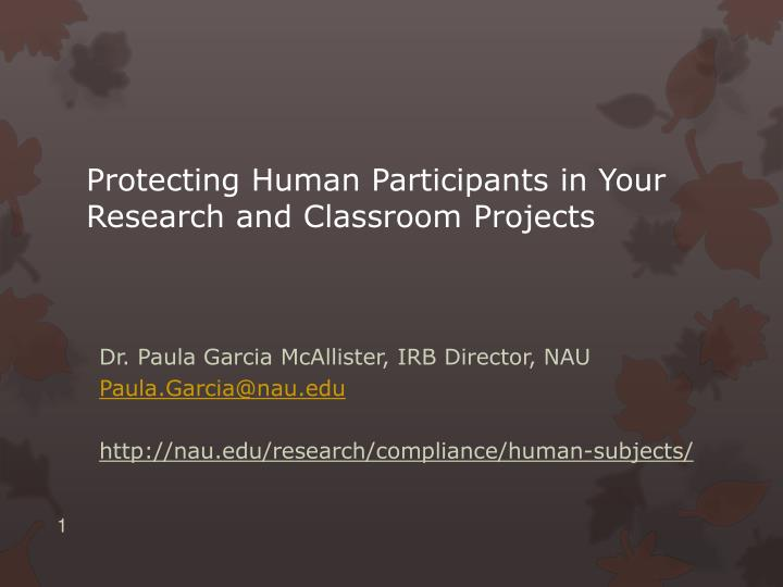 protecting human participants in your research and classroom projects