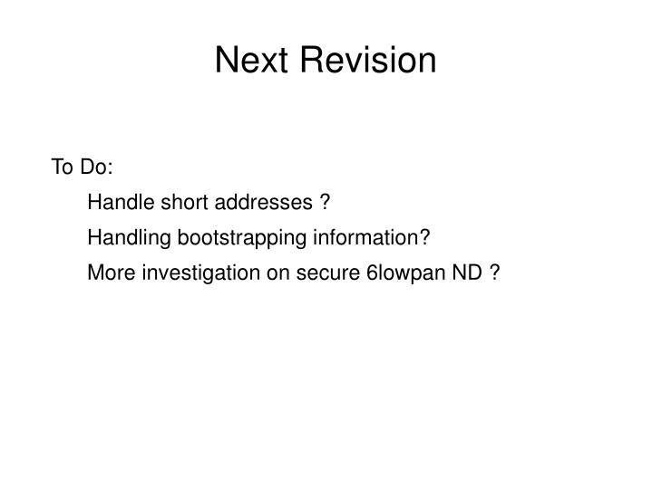 Next Revision