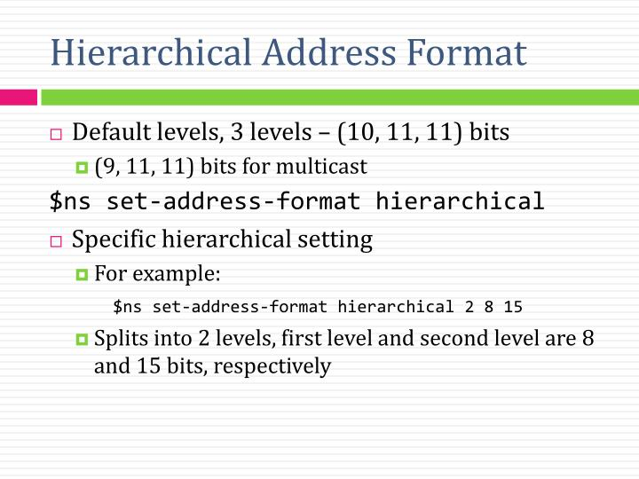 Hierarchical Address Format