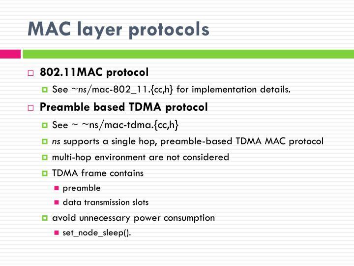 MAC layer protocols