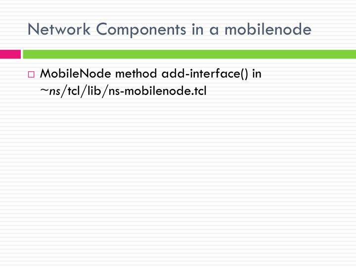 Network Components in a mobilenode