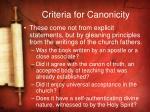 criteria for canonicity