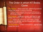the order in which nt books came