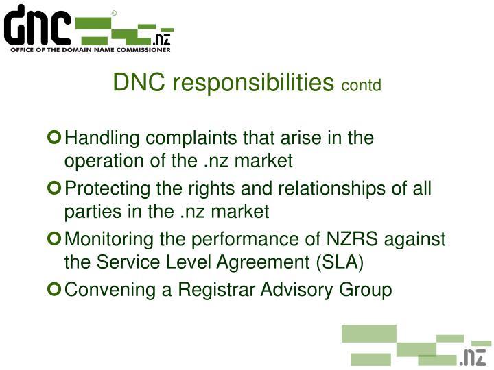 DNC responsibilities