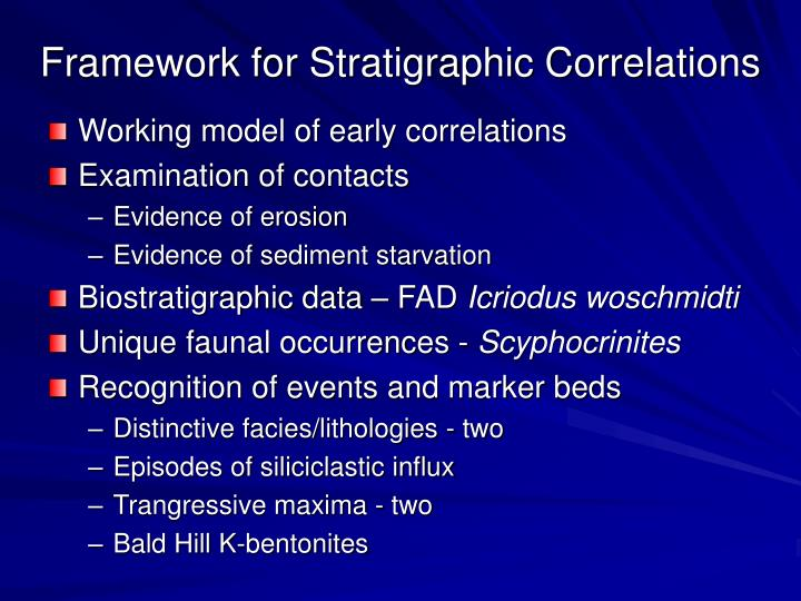 Framework for Stratigraphic Correlations