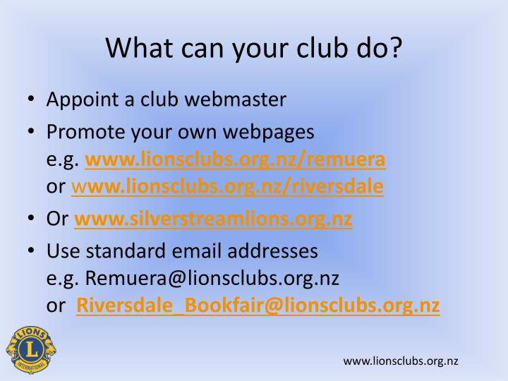 What can your club do?