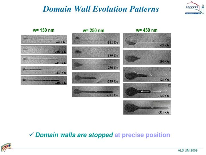 Domain Wall Evolution Patterns