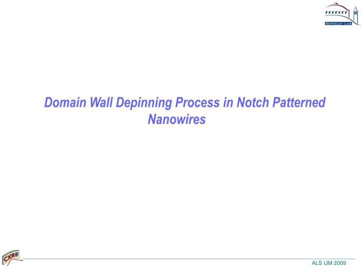 Domain Wall Depinning Process in Notch Patterned Nanowires