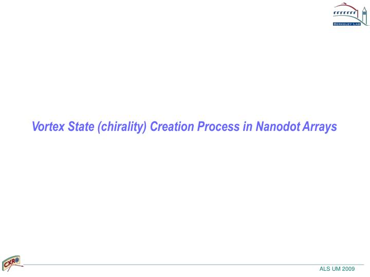 Vortex State (chirality) Creation Process in Nanodot Arrays