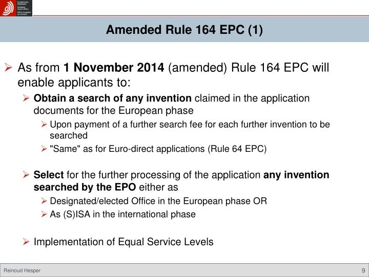 Amended Rule 164 EPC (1)