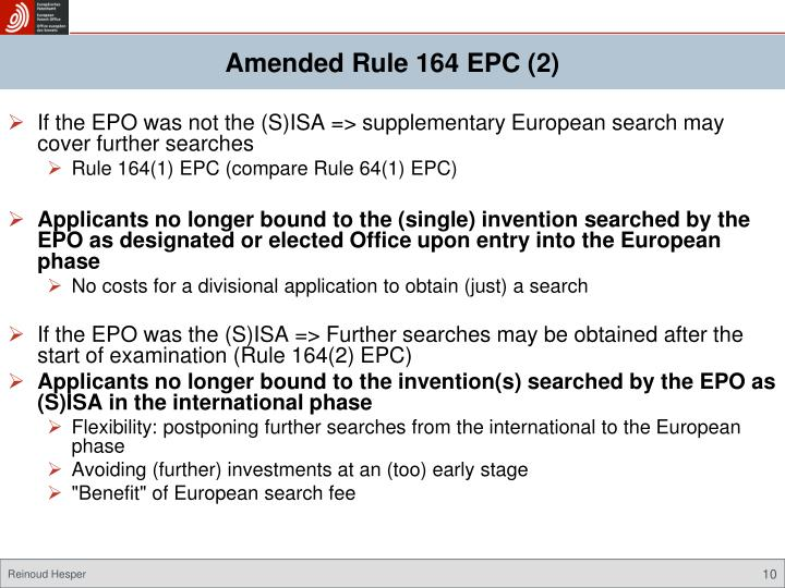 Amended Rule 164 EPC (2)