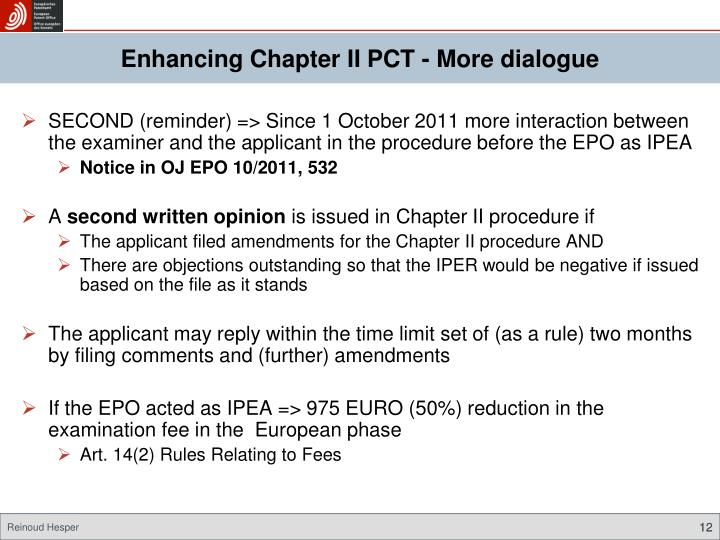 Enhancing Chapter II PCT - More dialogue