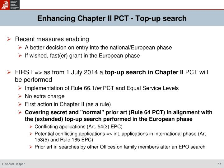Enhancing Chapter II PCT - Top-up search