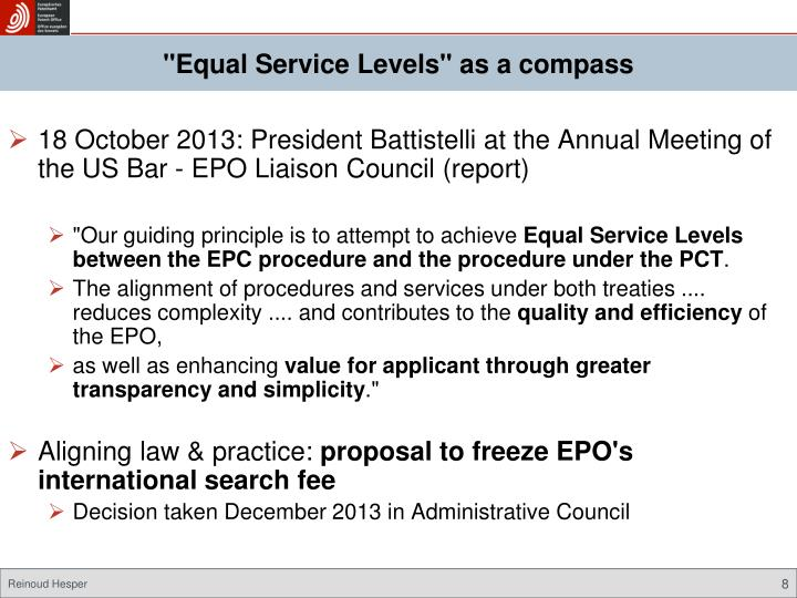 """Equal Service Levels"" as a compass"