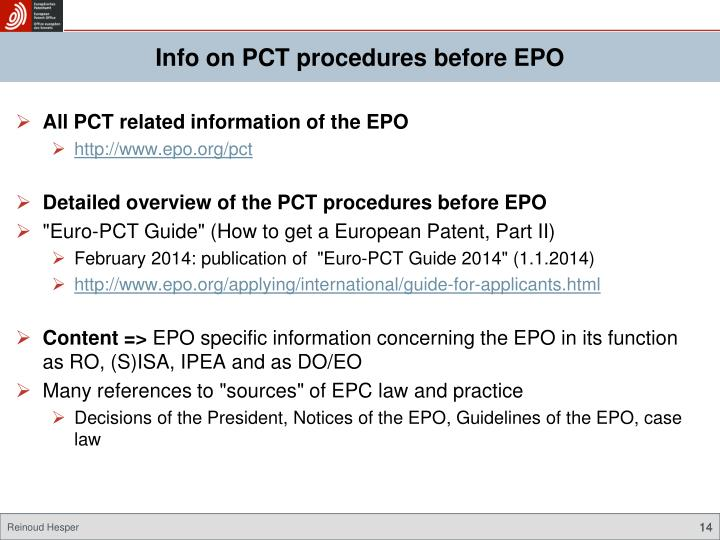 Info on PCT procedures before EPO