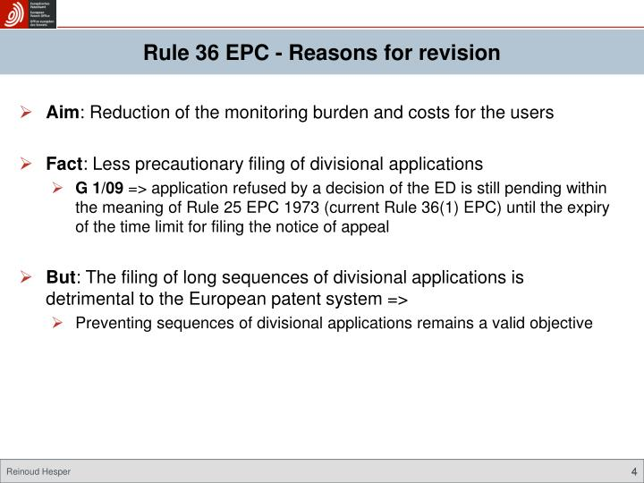 Rule 36 EPC - Reasons for revision