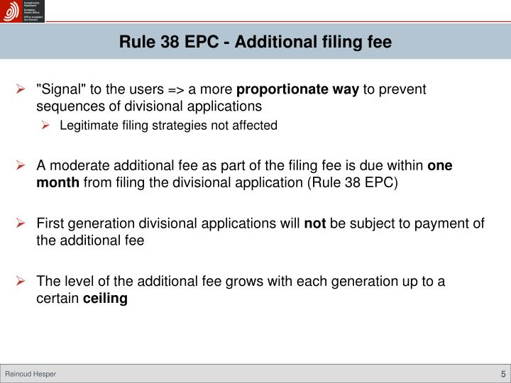 Rule 38 EPC - Additional filing fee