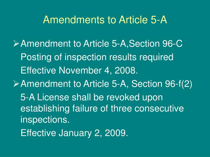 Amendments to Article 5-A