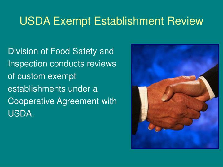 USDA Exempt Establishment Review
