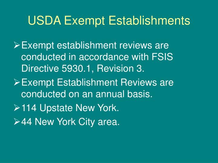USDA Exempt Establishments