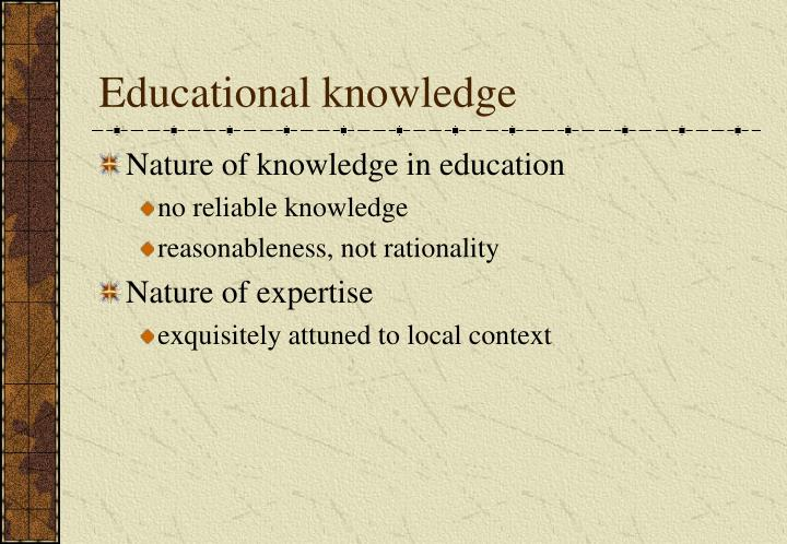 Educational knowledge