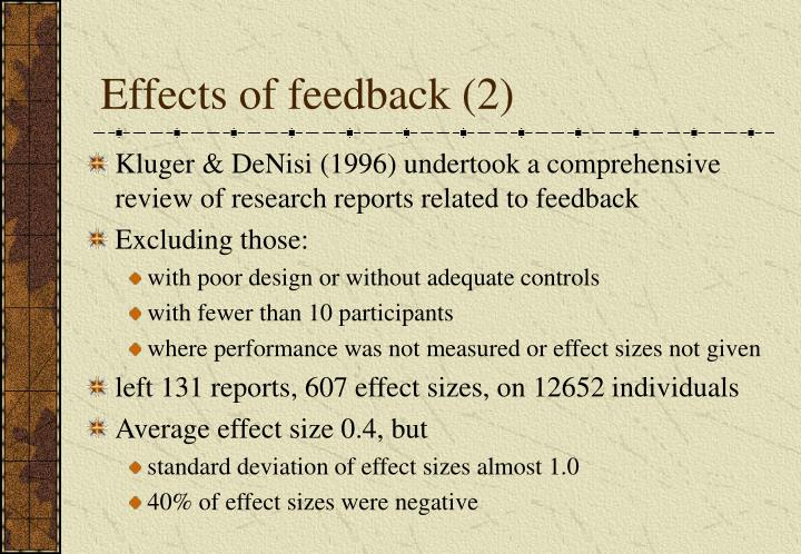 Effects of feedback (2)