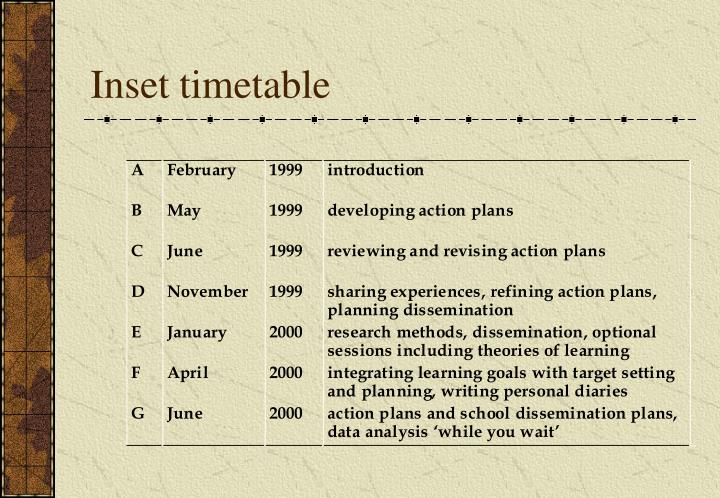 Inset timetable