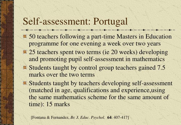 Self-assessment: Portugal