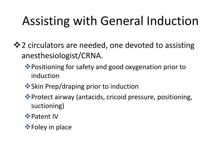 Assisting with General Induction