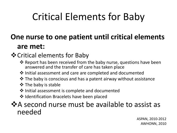 Critical Elements for Baby