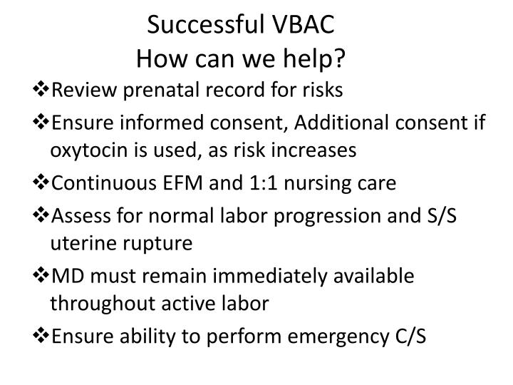 Successful VBAC