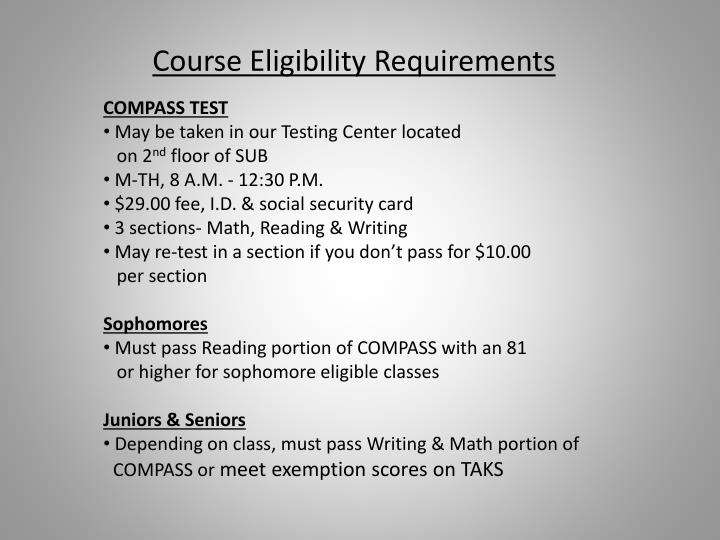 Course Eligibility Requirements