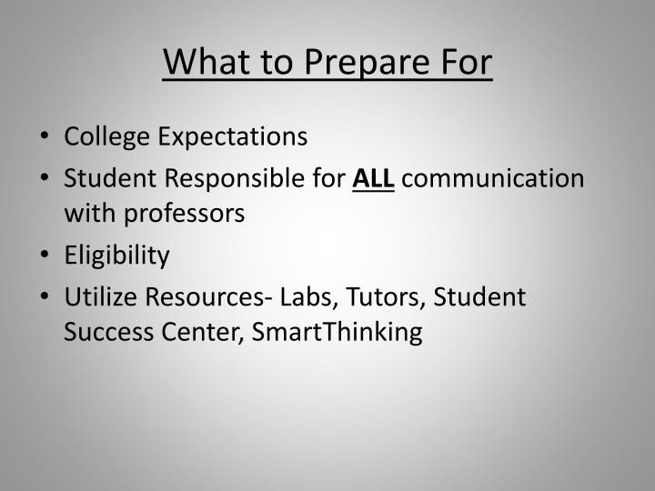 What to Prepare For