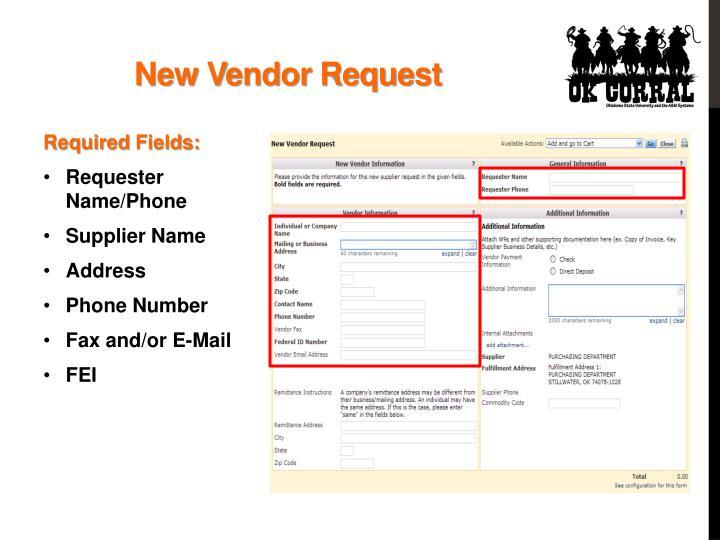 New Vendor Request