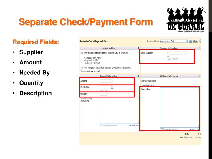 Separate Check/Payment Form