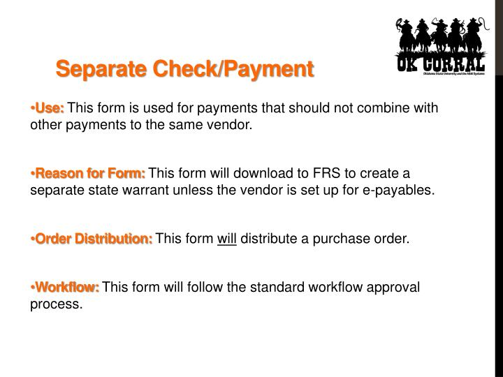 Separate Check/Payment