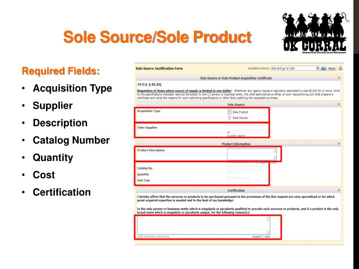 Sole Source/Sole Product