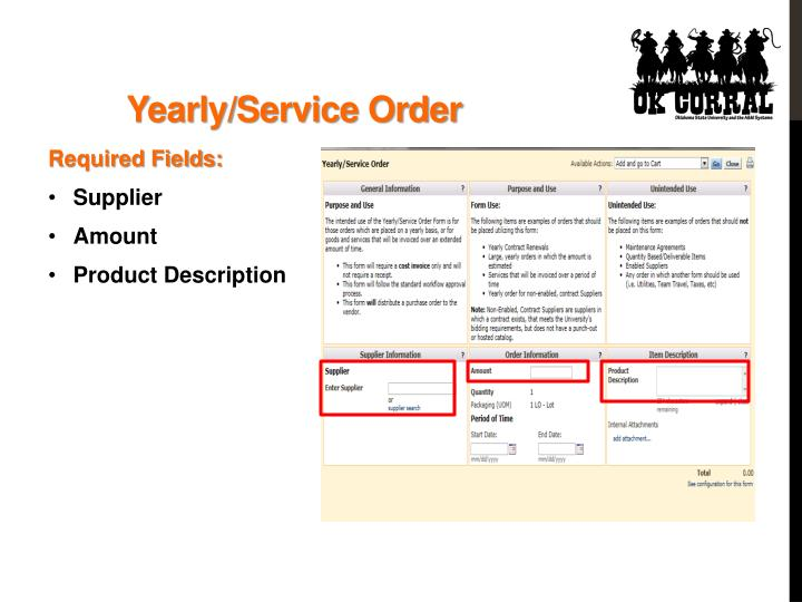 Yearly/Service Order
