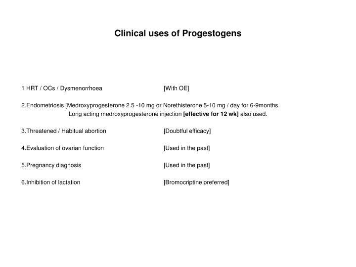 Clinical uses of progestogens