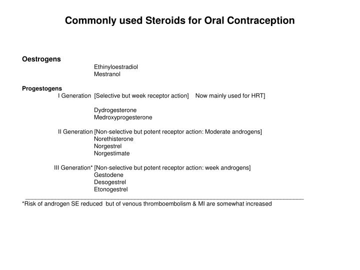 Commonly used Steroids for Oral Contraception