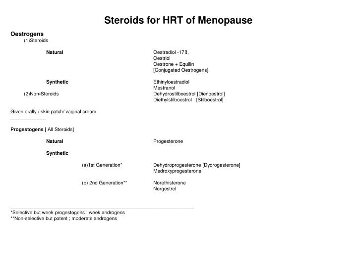 Steroids for HRT of Menopause