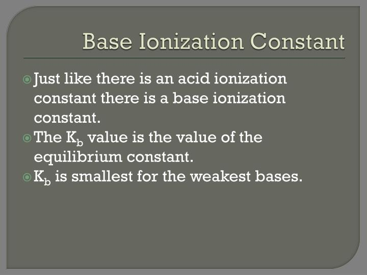 Base Ionization Constant