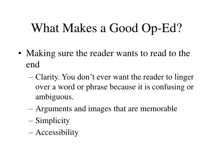 What Makes a Good Op-Ed?