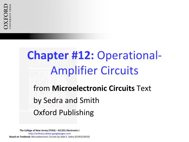 Chapter 12 operational amplifier circuits