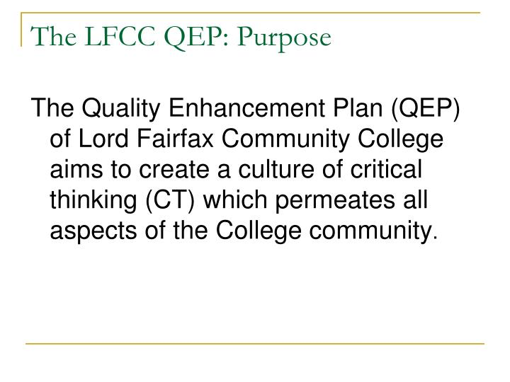 The LFCC QEP: Purpose