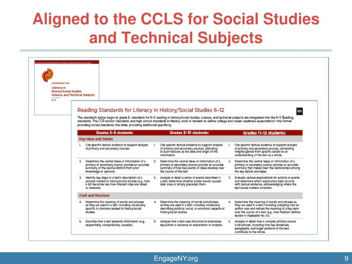 Aligned to the CCLS for Social Studies and Technical Subjects